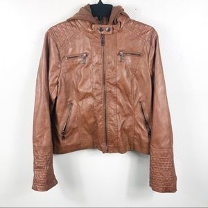 Hooded Brown Faux Leather Moto Jacket Size Large
